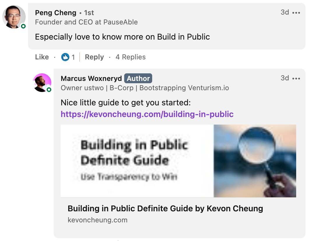Marcus Woxneryd suggesting Building in Public guide