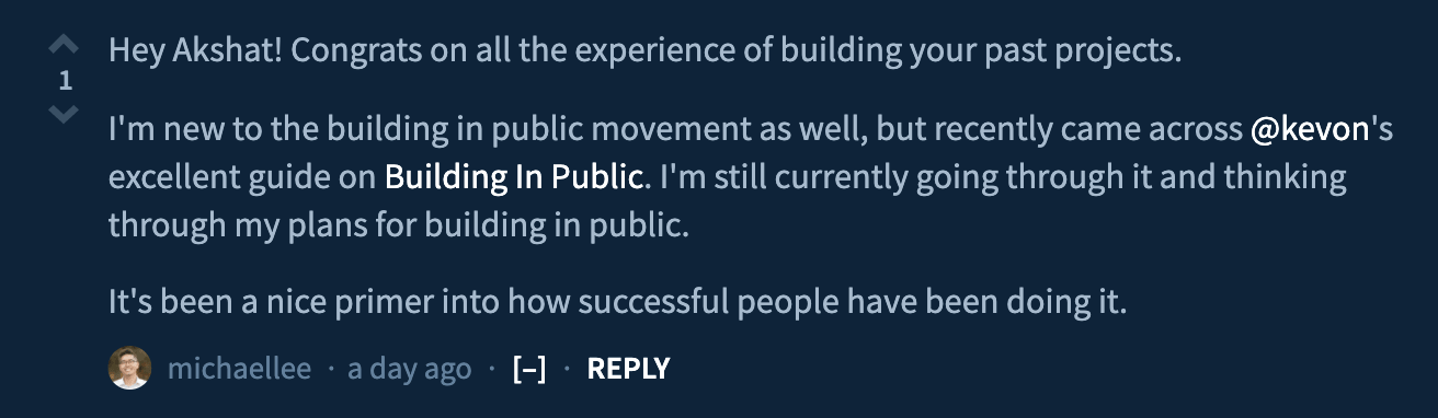 Michael Lee suggesting Building in Public guide