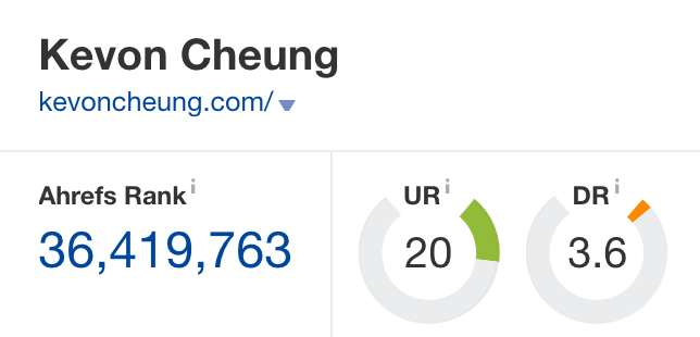 KevonCheung.com's domain rating