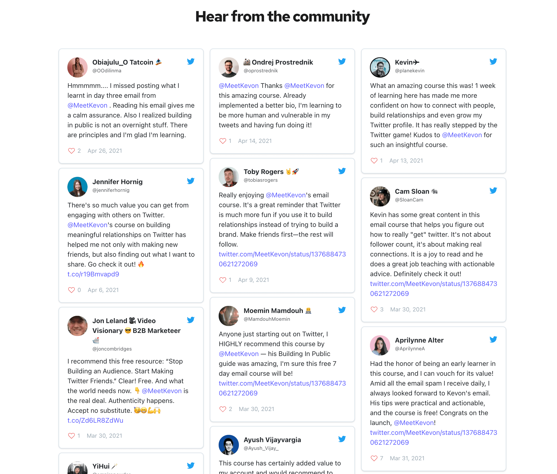 Making Twitter Friends Testimonial
