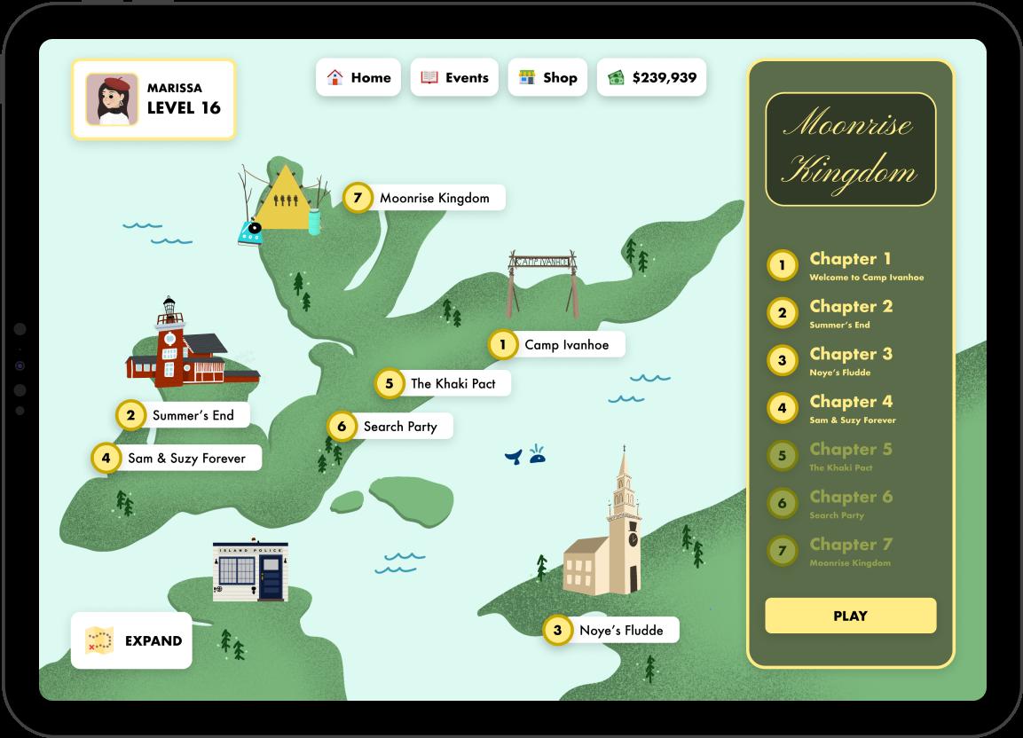 Illustrated map of Moonrise Kingdom landscape within game