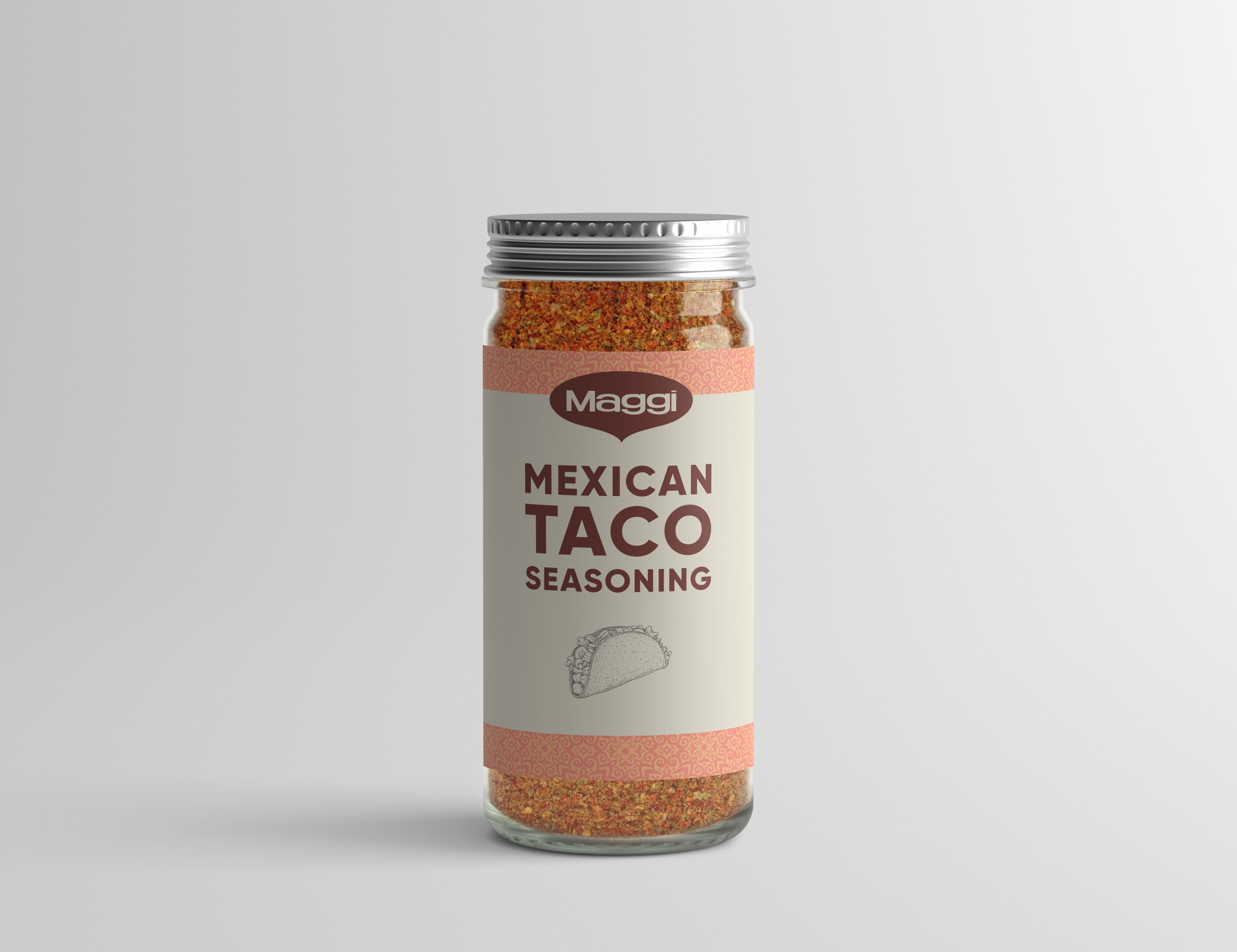 A spice bottled labeled Mexican Taco Seasoning