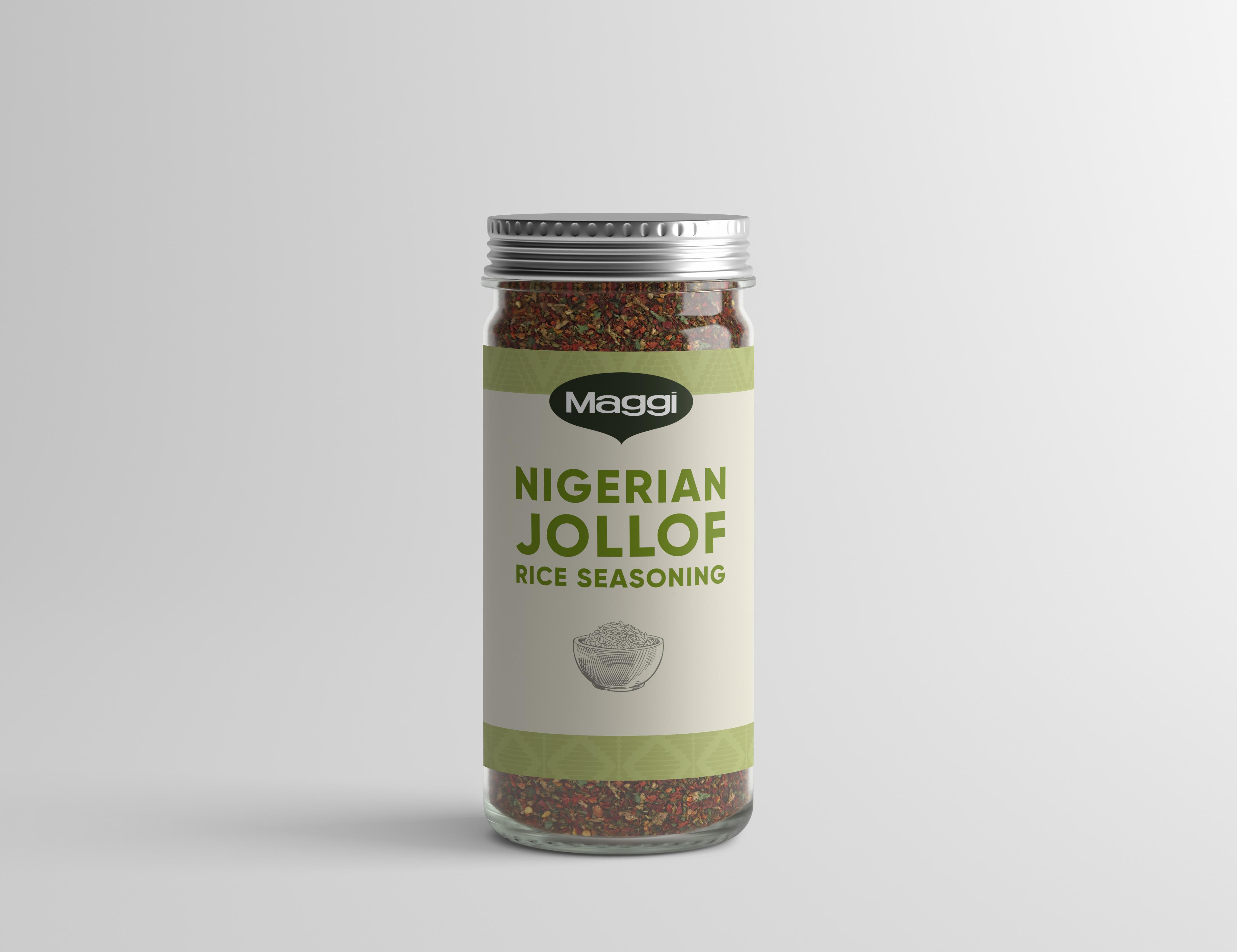 A spice bottle labeled Nigerian Jollof Rice Seasoning