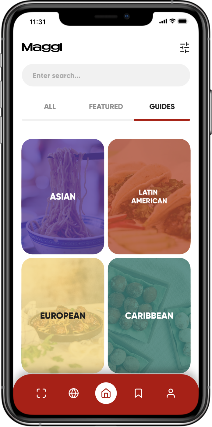 A food mobile app showing a list of cuisine categories (Asian, Latin American, European, Caribbean)