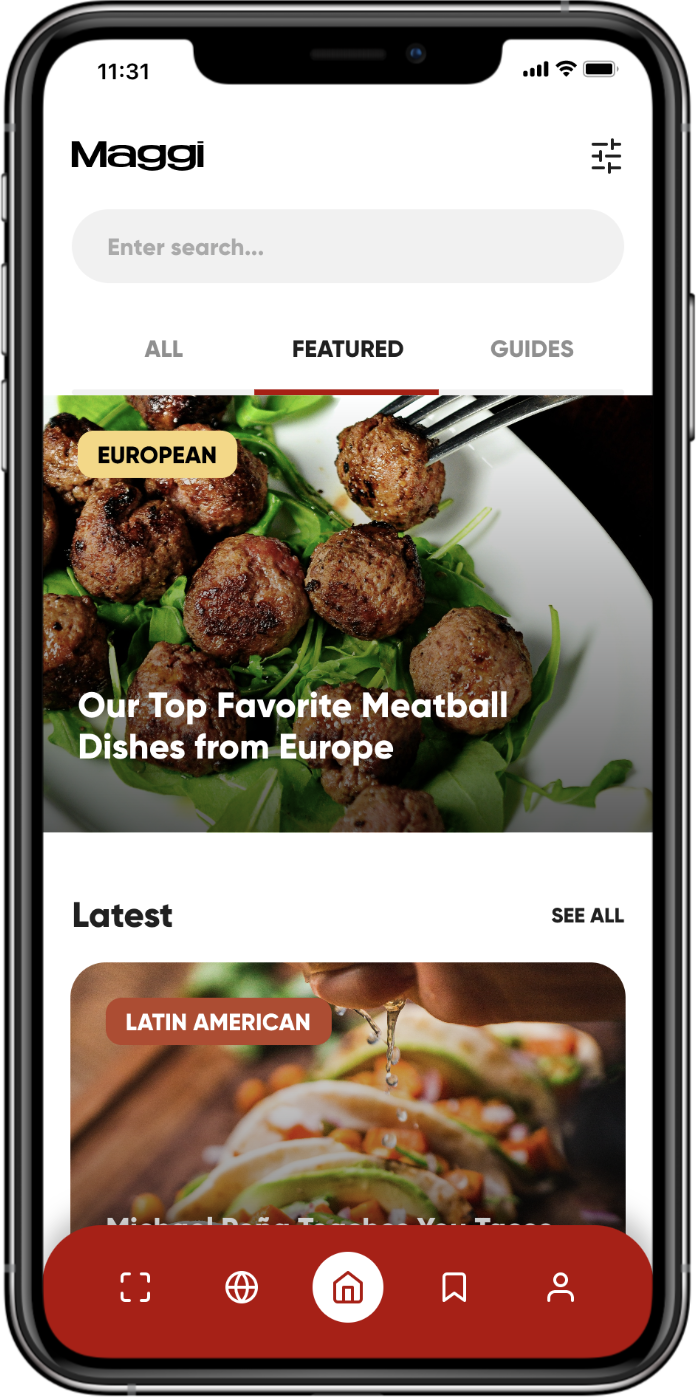 A food mobile app showing a list of special featured recipes