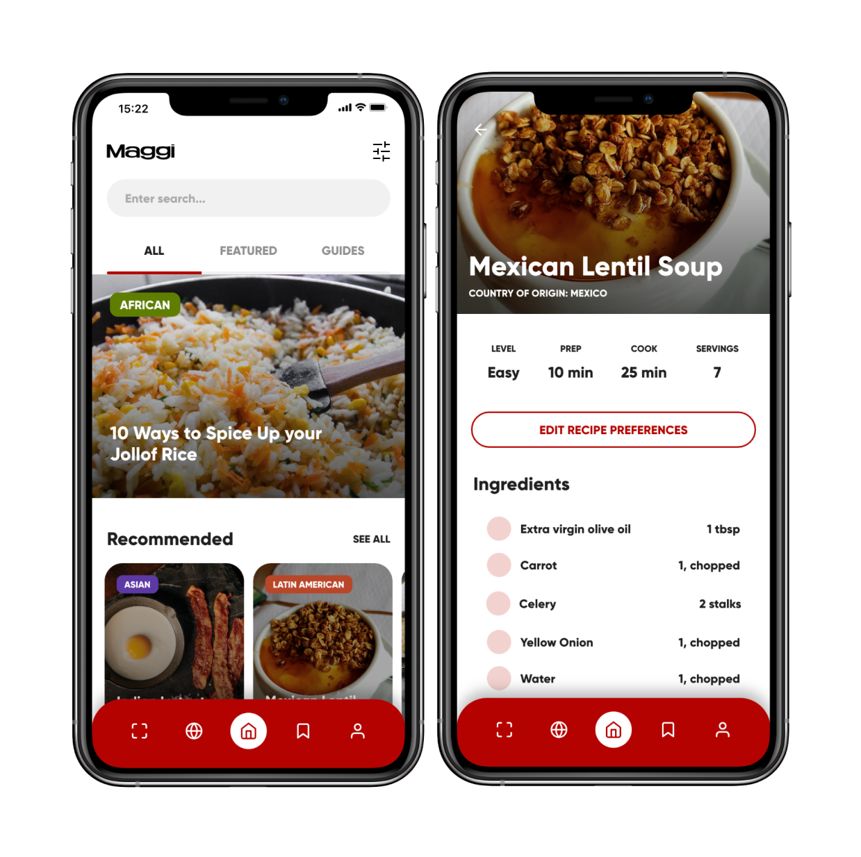 Picture of two iPhone screens showing a food recipe app