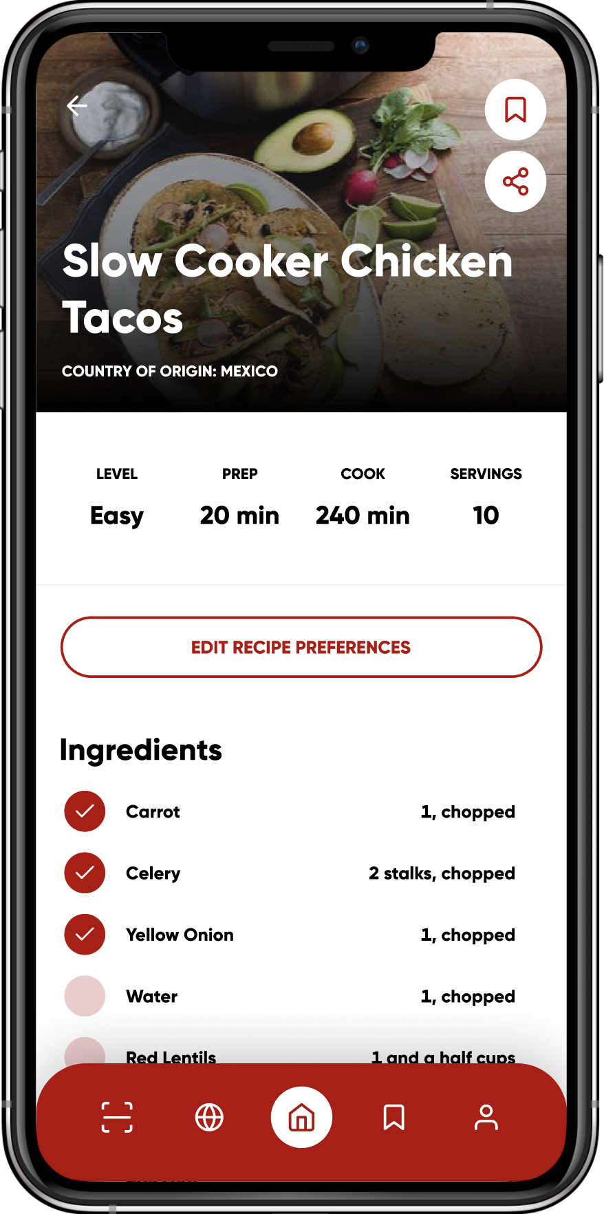 A recipe guide on mobile for slow cooker chicken tacos