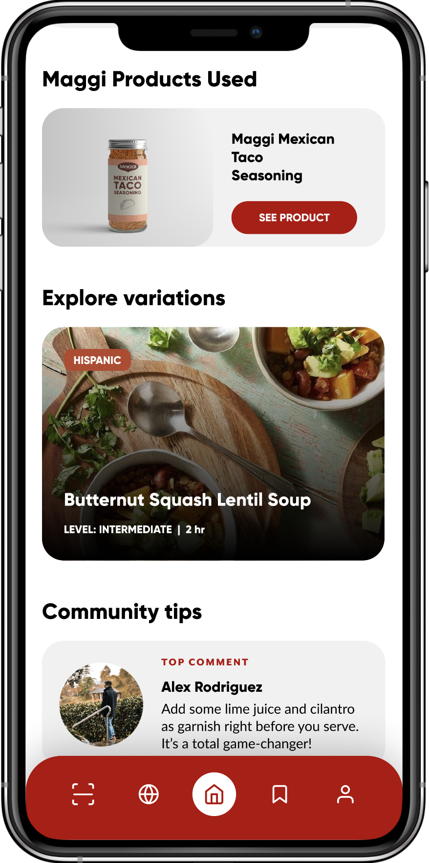 Bottom page of a food recipe on mobile app showing community tips and suggested recipes