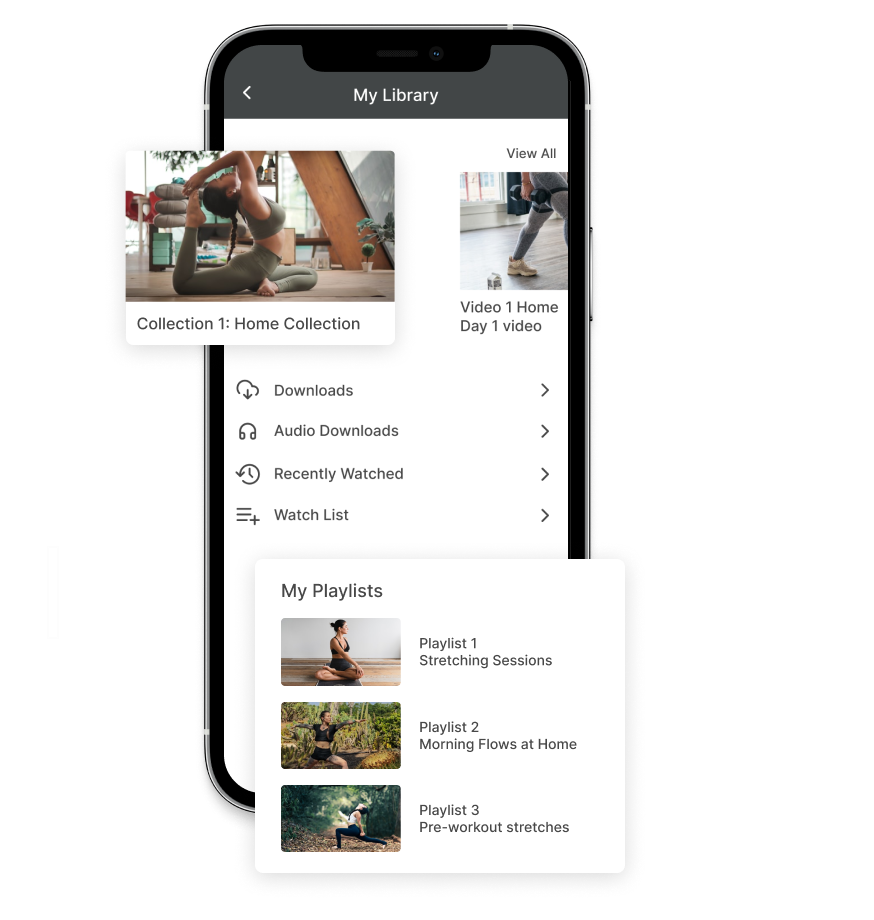 Custom playlists and offline viewing for mobile yoga app