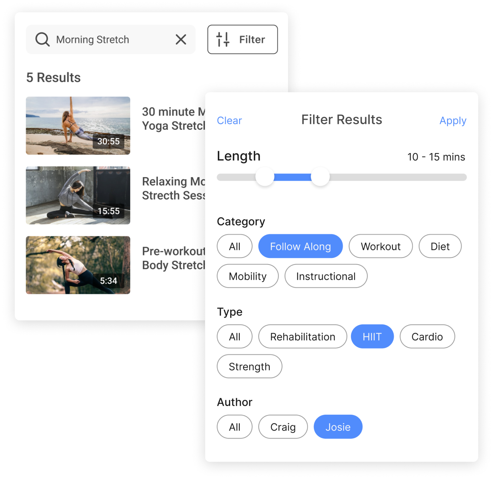 OTT mobile app builder features for specific funcionality for yoga