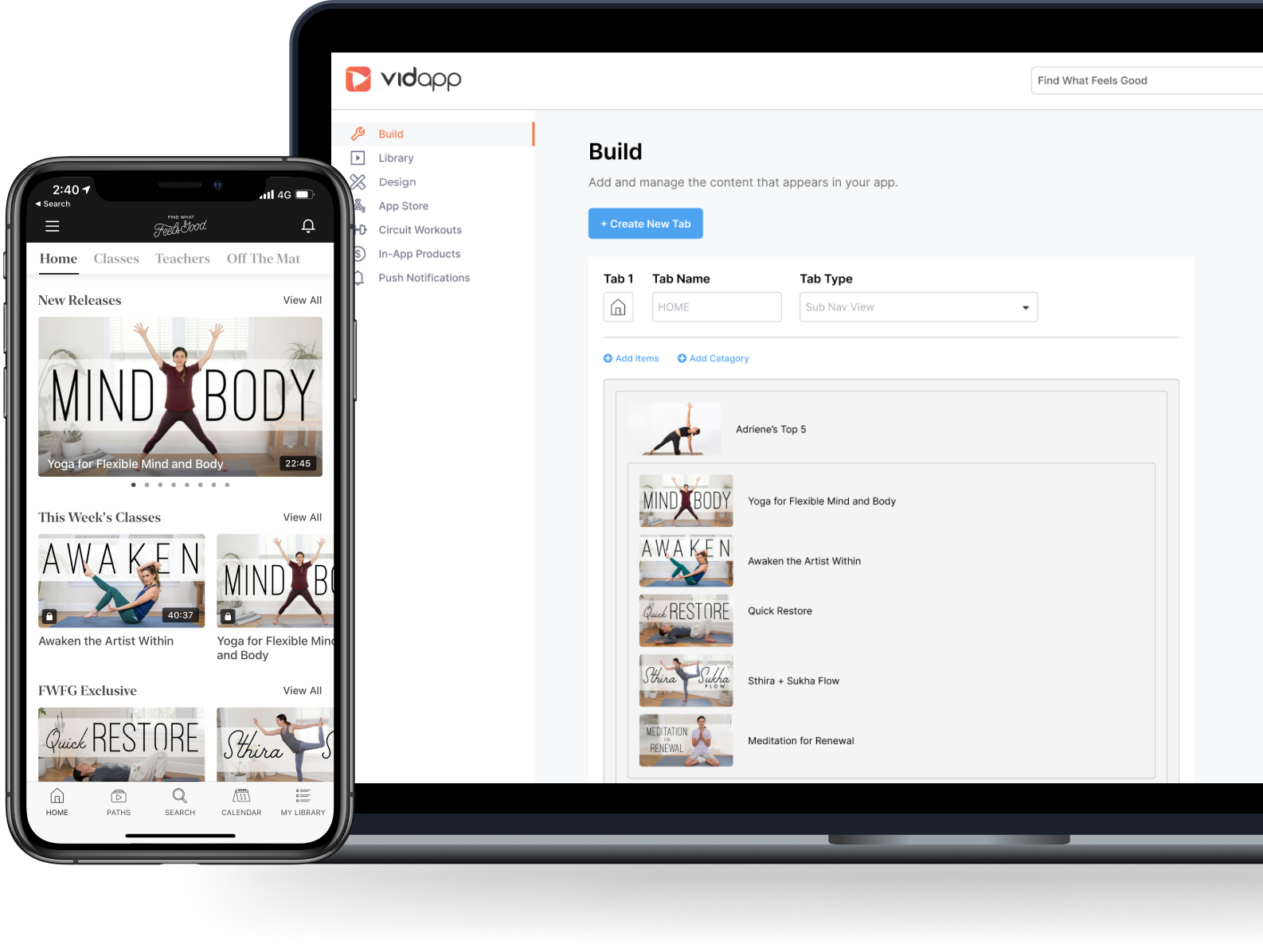 Mobile app builder for yoga and fitness expert integrated with Kajabi