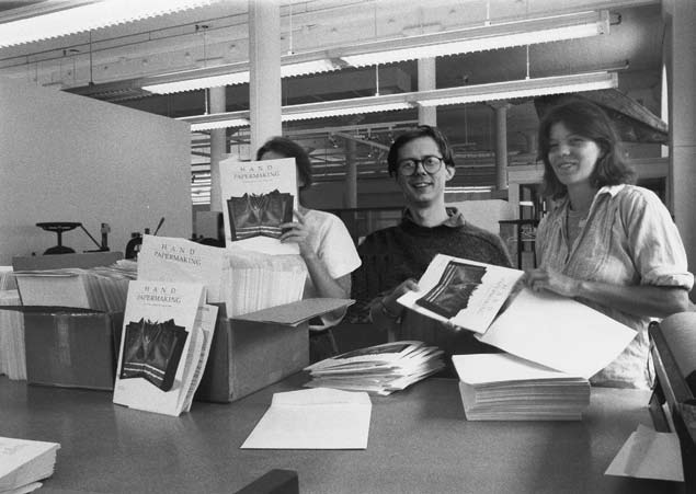 Image - Co-founders Michael Durgin, Amanda Degener, and helper in Minneapolis, stuffing the Winter 1987 issue into envelopes.