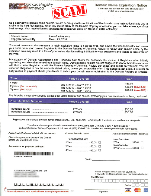 An example of a domain renewal invoice (scam).