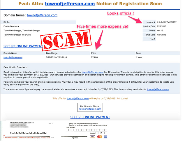 Example of domain renewal invoice –a scam.