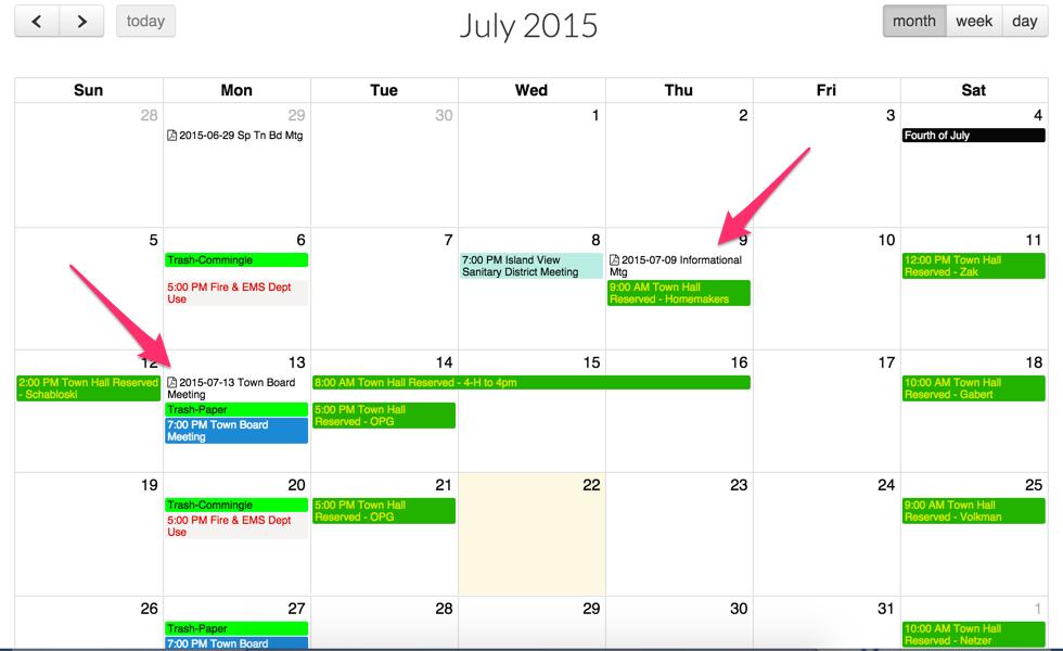PDF Agendas linked within the Calendar