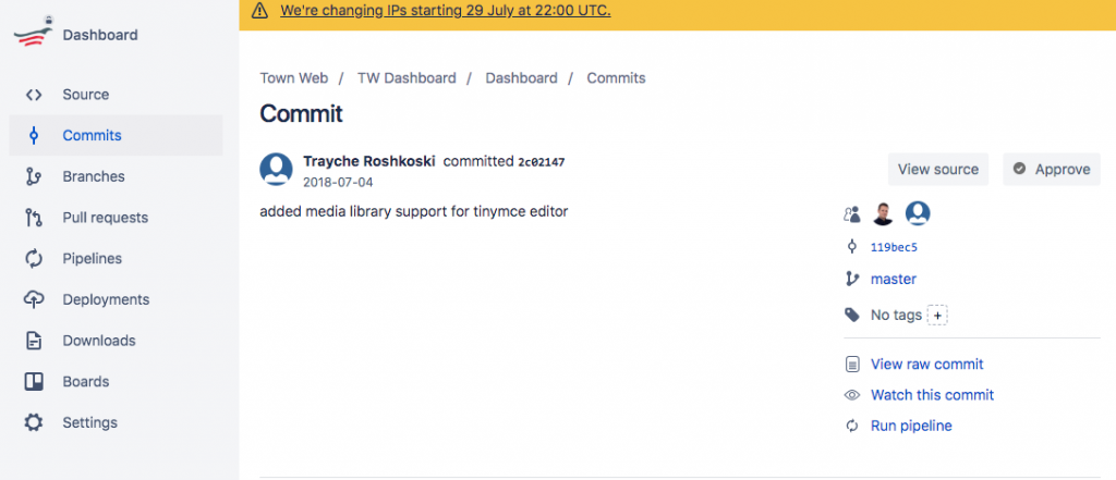 web feature committed on bitbucket
