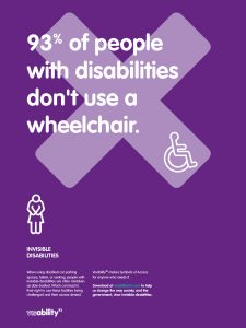 poster showing 93% of people with disabilities don't use a wheelchair