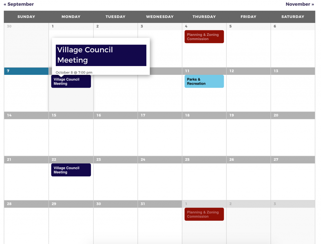Monthly calendar view showing highlighted events