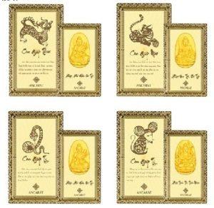Thẻ bùa bình an Phật 12 con giáp Ancarat