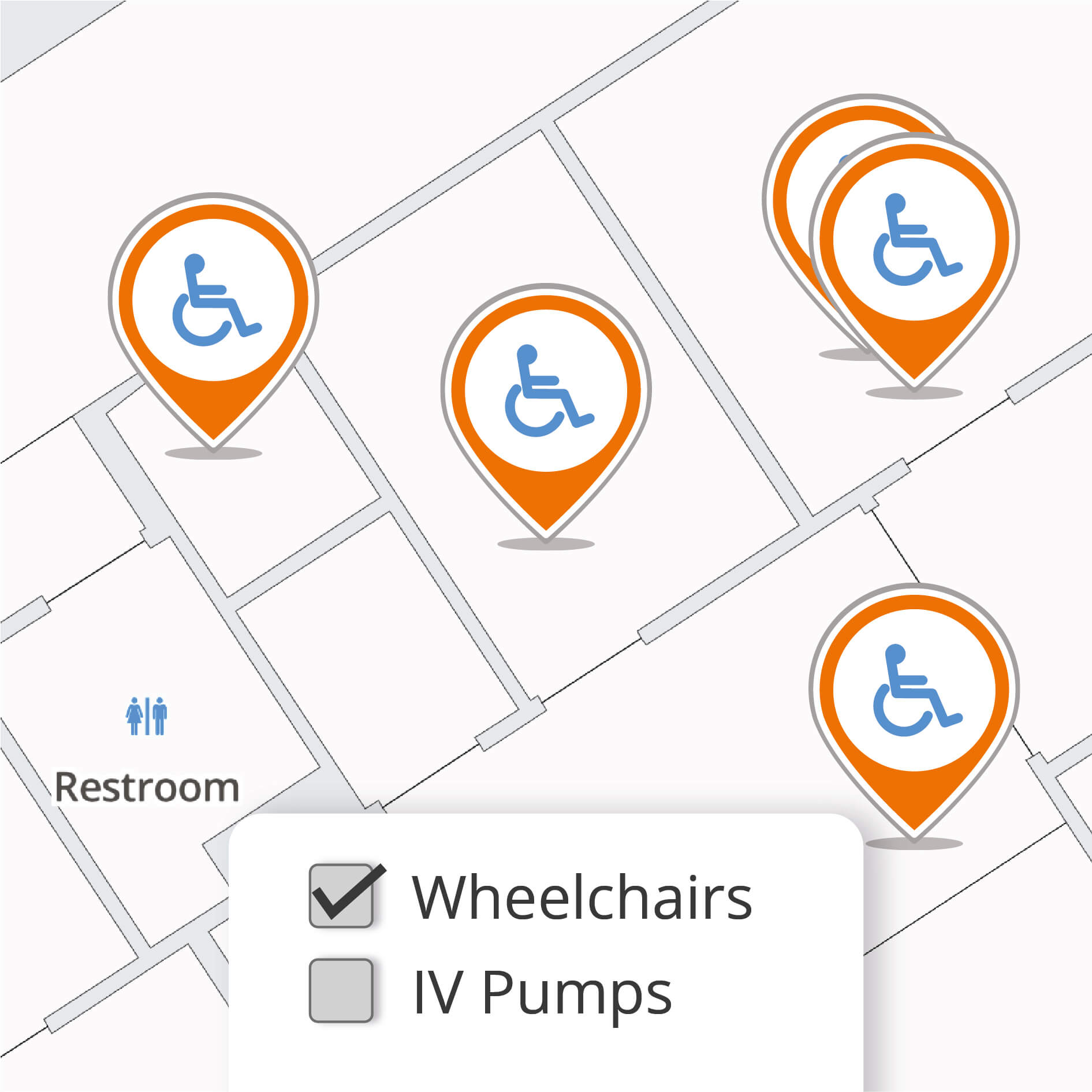 Important assets like wheelchairs highlighted on the map