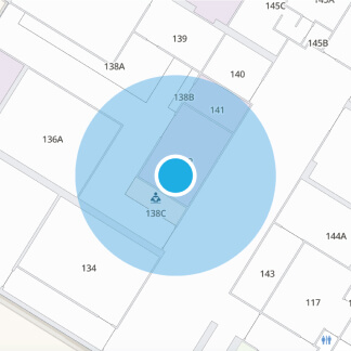 Blue dot navigation on a map
