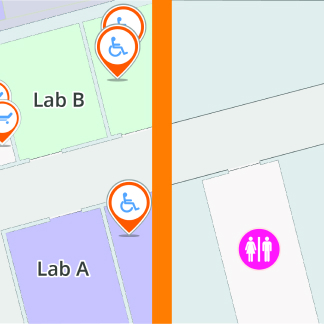 A graphic showing two sides of a map; One where staff can see the important assets and one where visitors can only see toilets