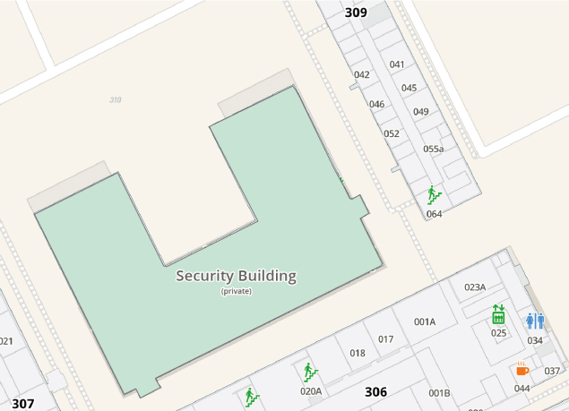 """A map showing that a part of a building can be hidden from normal view or shown as """"private""""."""