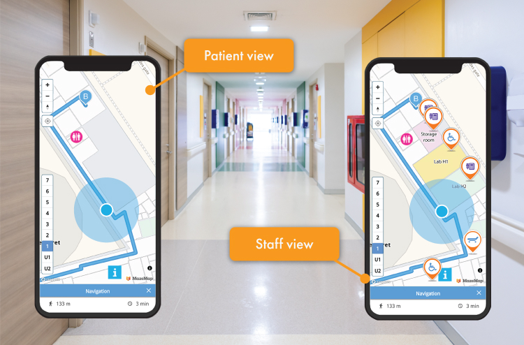 Two phones showing the difference between patient view and staff view