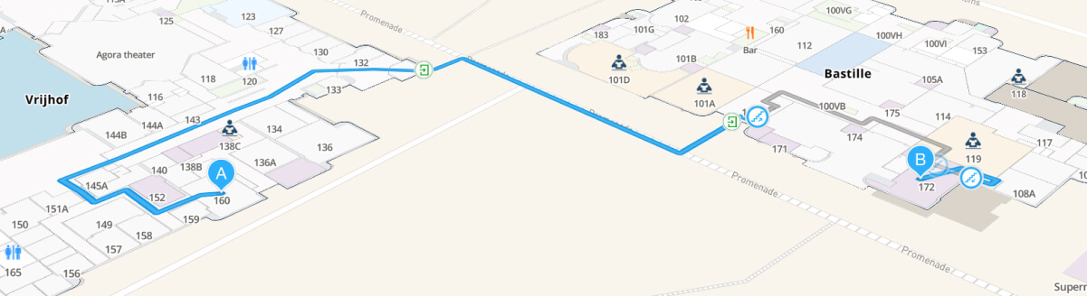 A picture of a route shown on the indoor map of MazeMap