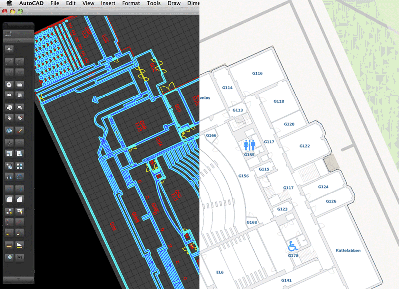 Illustration showing conversion from technical floor plans DWG/DXF drawing to interactive indoor maps