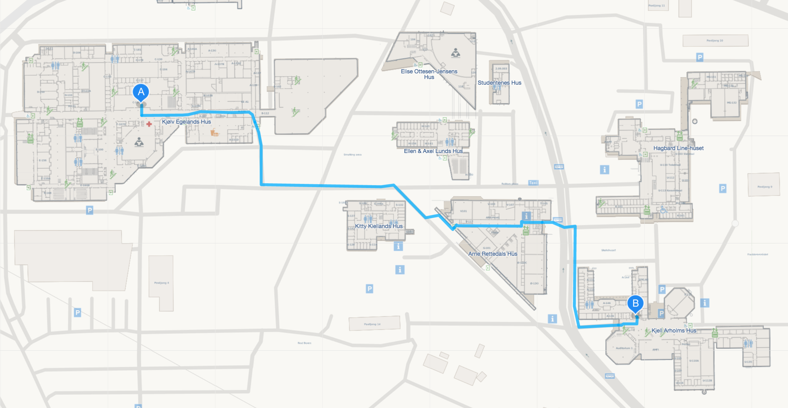 Map showing how to navigate from inside one building to a room across campus
