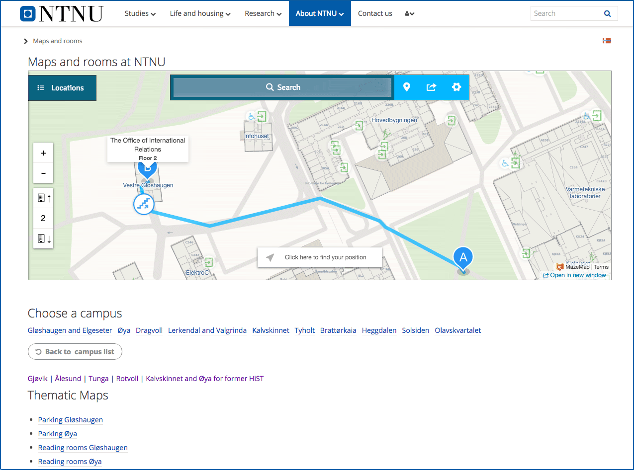 Photo showing the dedicated campus map pages for the Norwegian university NTNU.