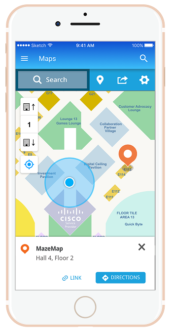 Picture illustrating MazeMap in the Cisco Live Berlin App