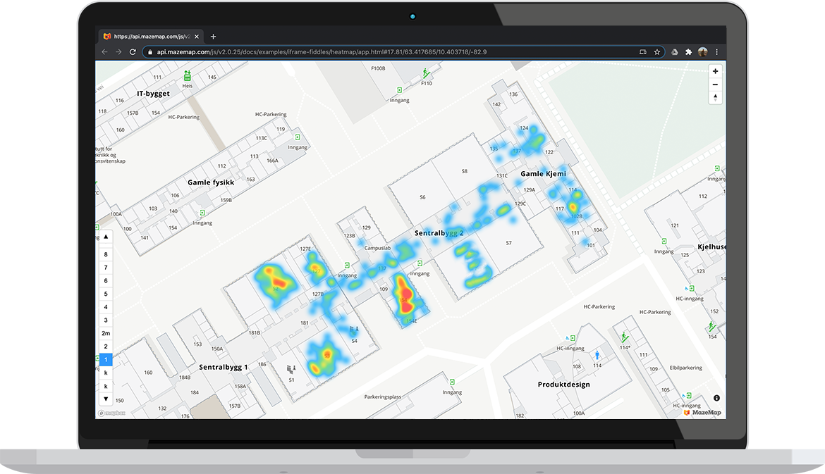 A computer screen showing the heat maps function in MazeMap