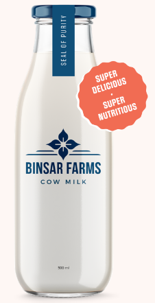 Binsar farm fresh cow milk bottle