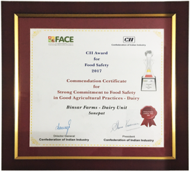 Commendation Certificate for Food Safety Practices