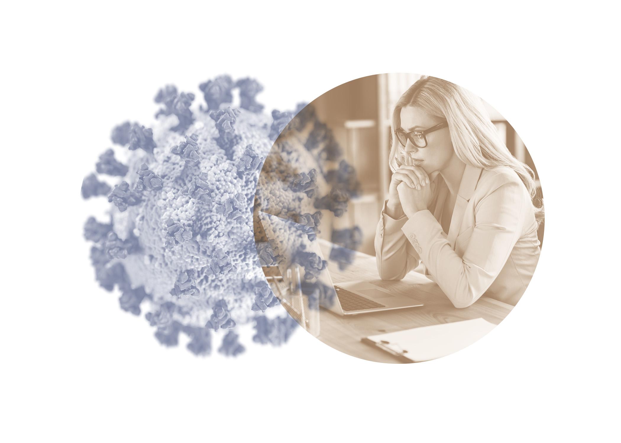 symbol image sars-cov2 virus and woman looking at laptop computer