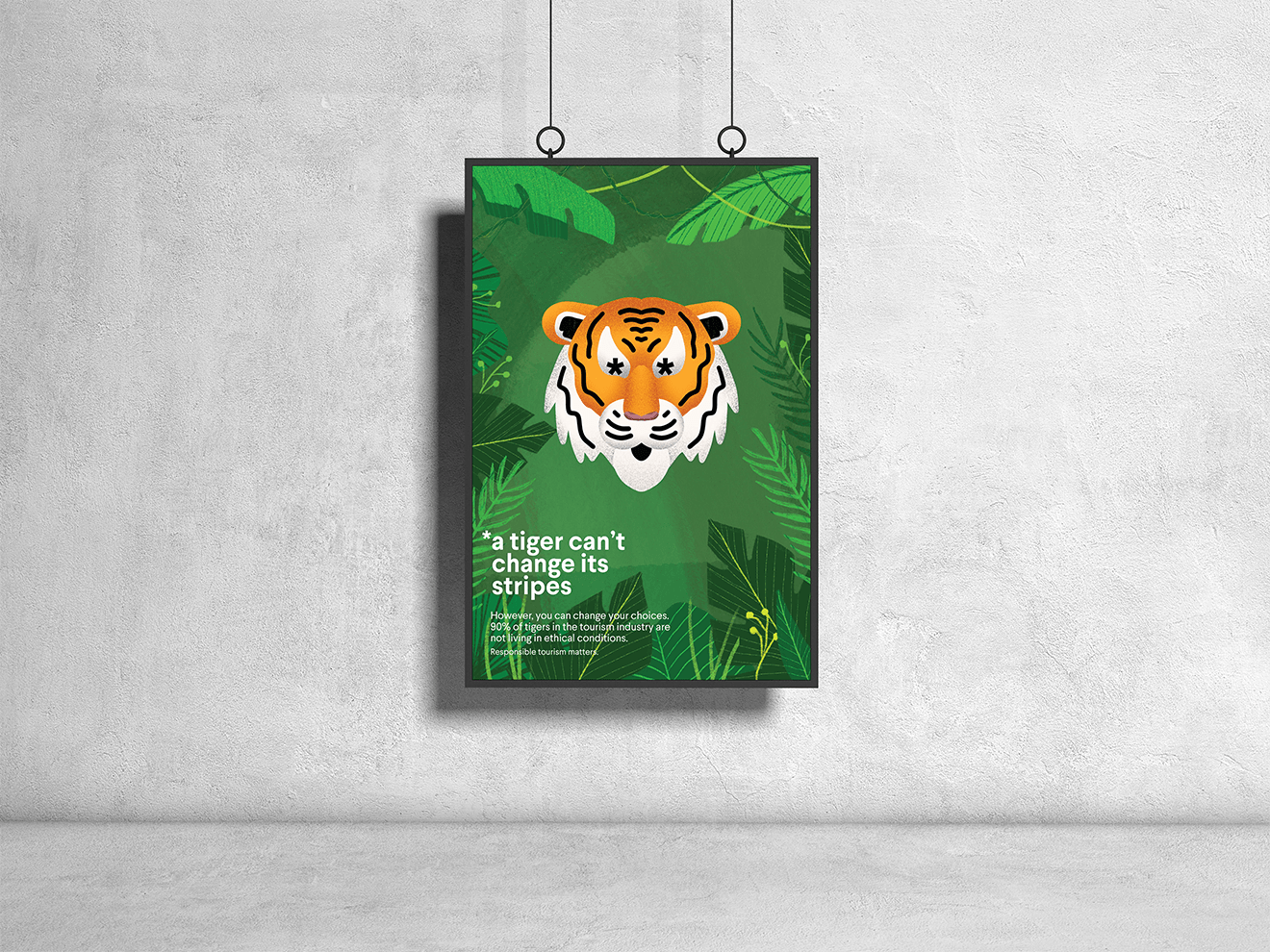 """A poster with an illustration of a tiger with asterisks for eyes. The text reads """"A tiger can't change its stripes. However, you can change your choices. 90% of tigers in the tourism industry are not living in ethical conditions. Responsible tourism matters."""""""