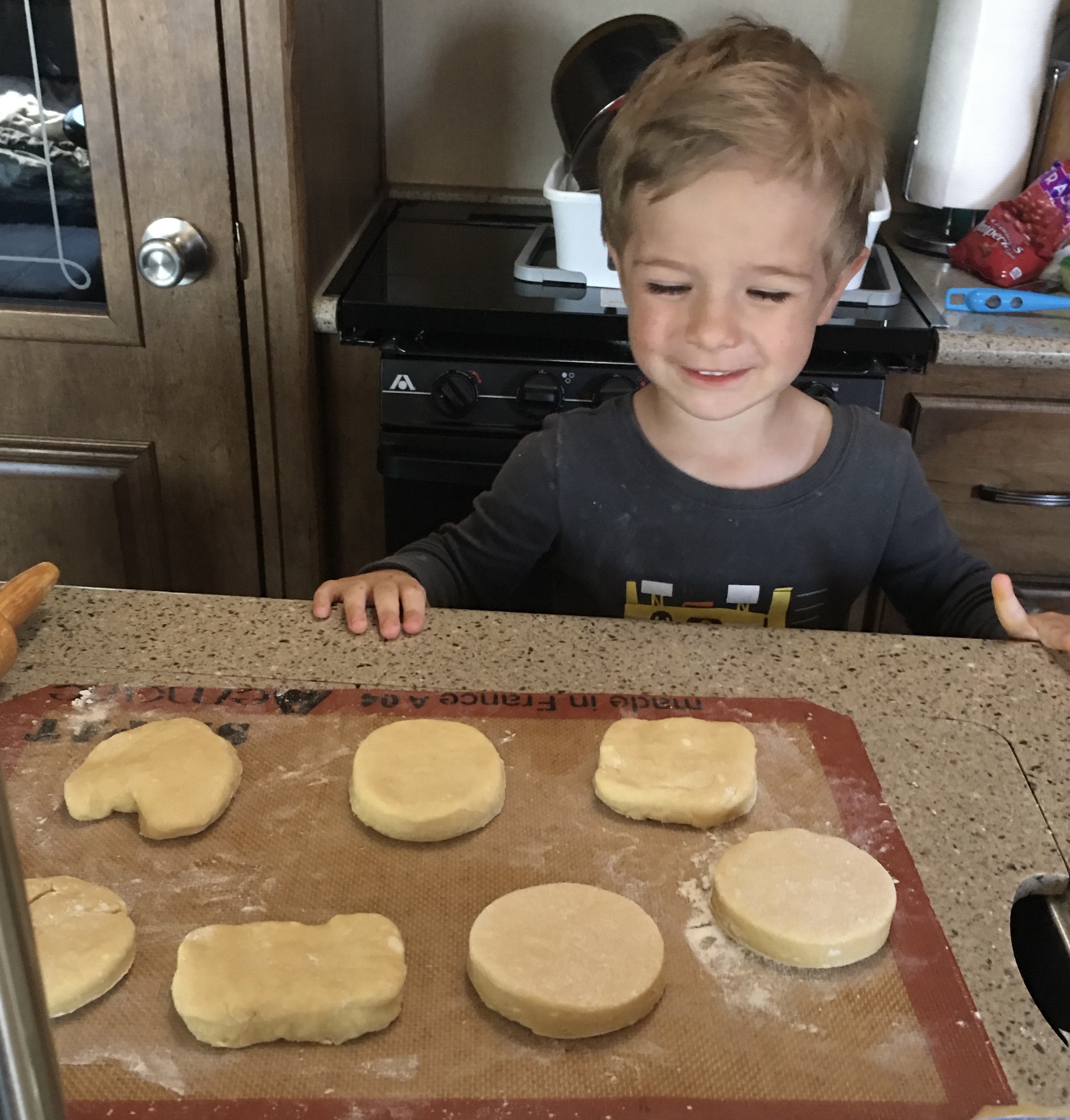 photo of my son Ryder heling me cut out these cookies in our RV