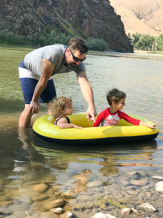 Charley and Daddy in the Salmon River