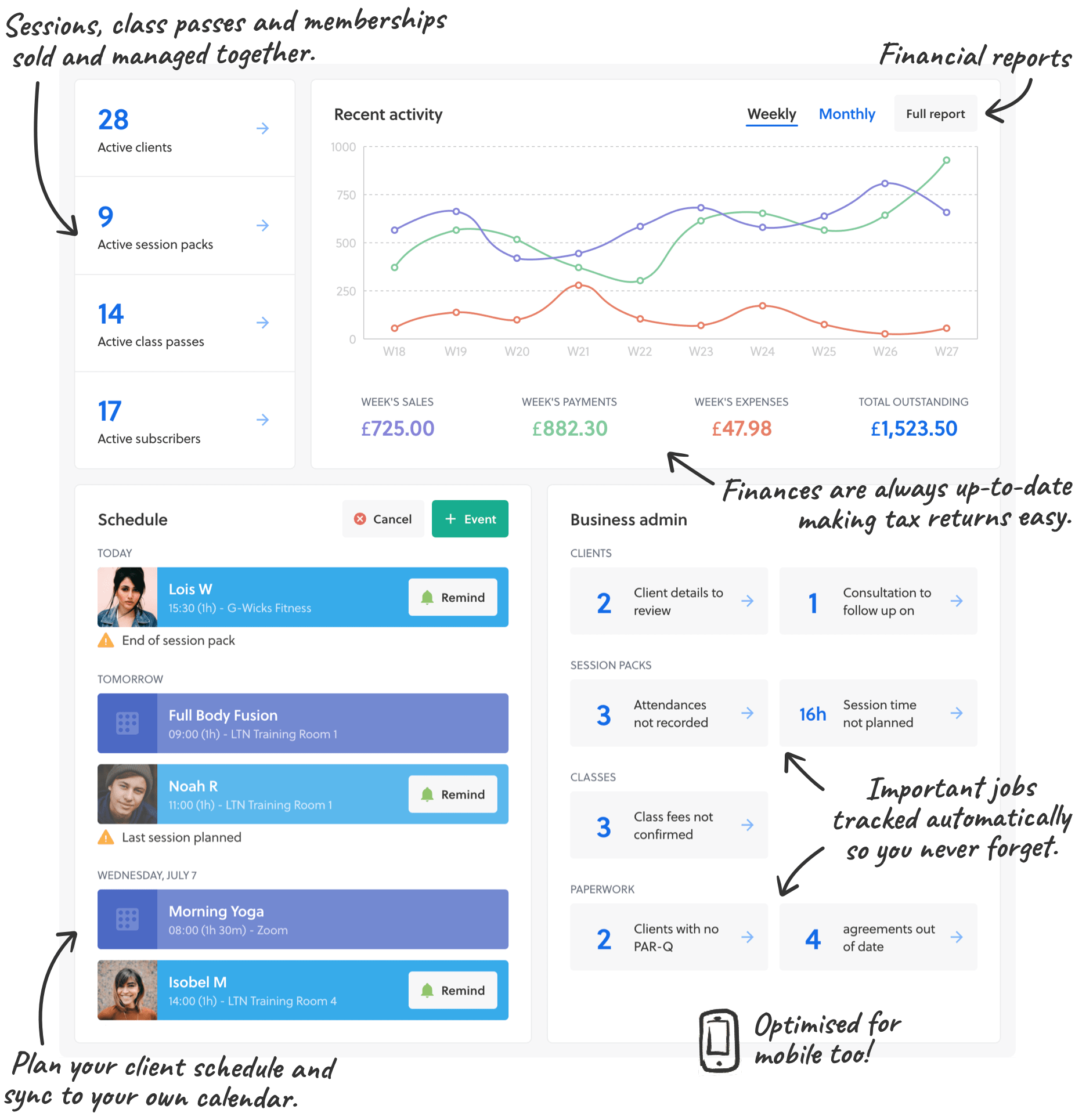 Features of the Striive dashboard