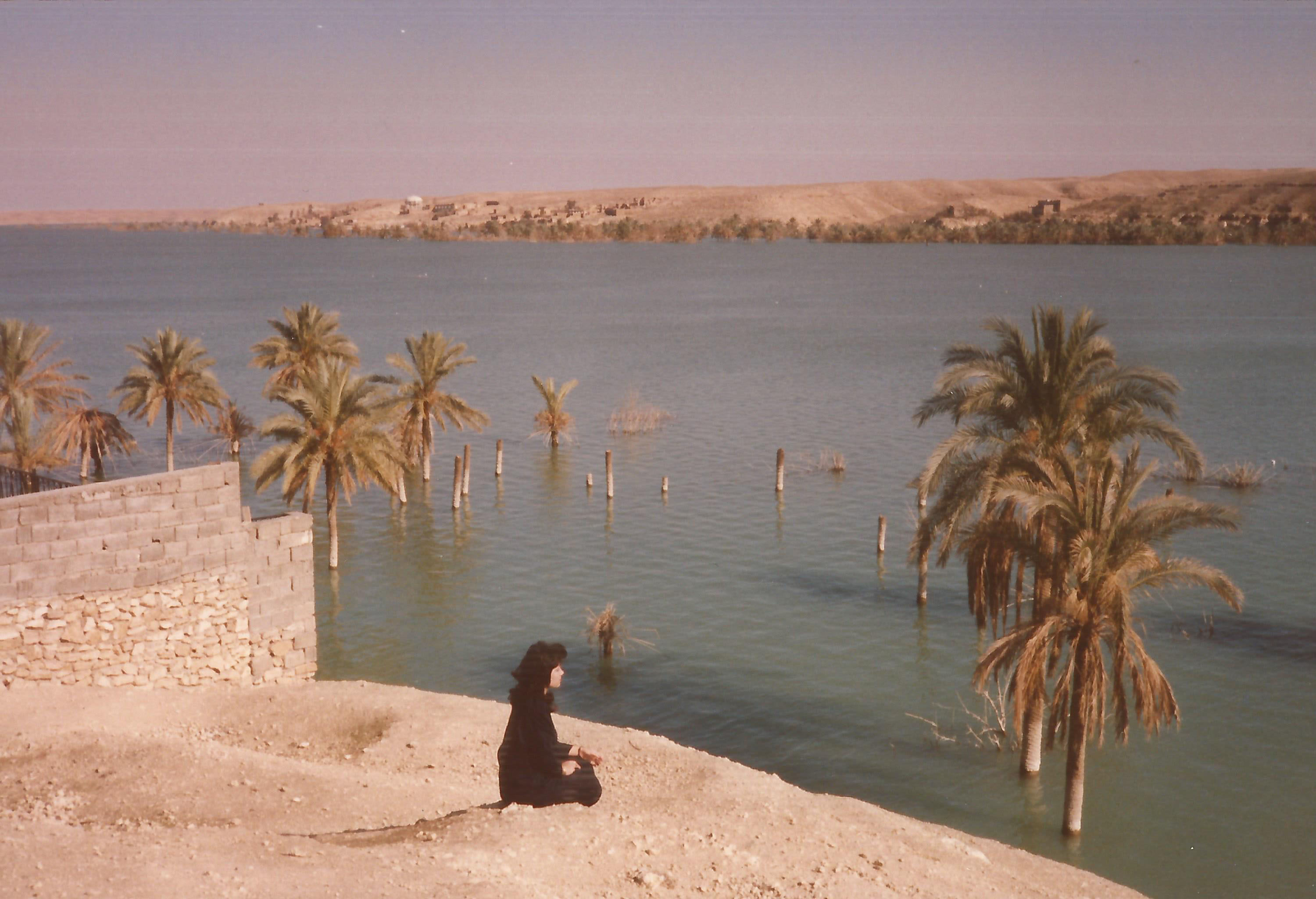 An image of a woman staring at a submerged Rawa in 1989 as submitted to the Iraq Photo Archive.