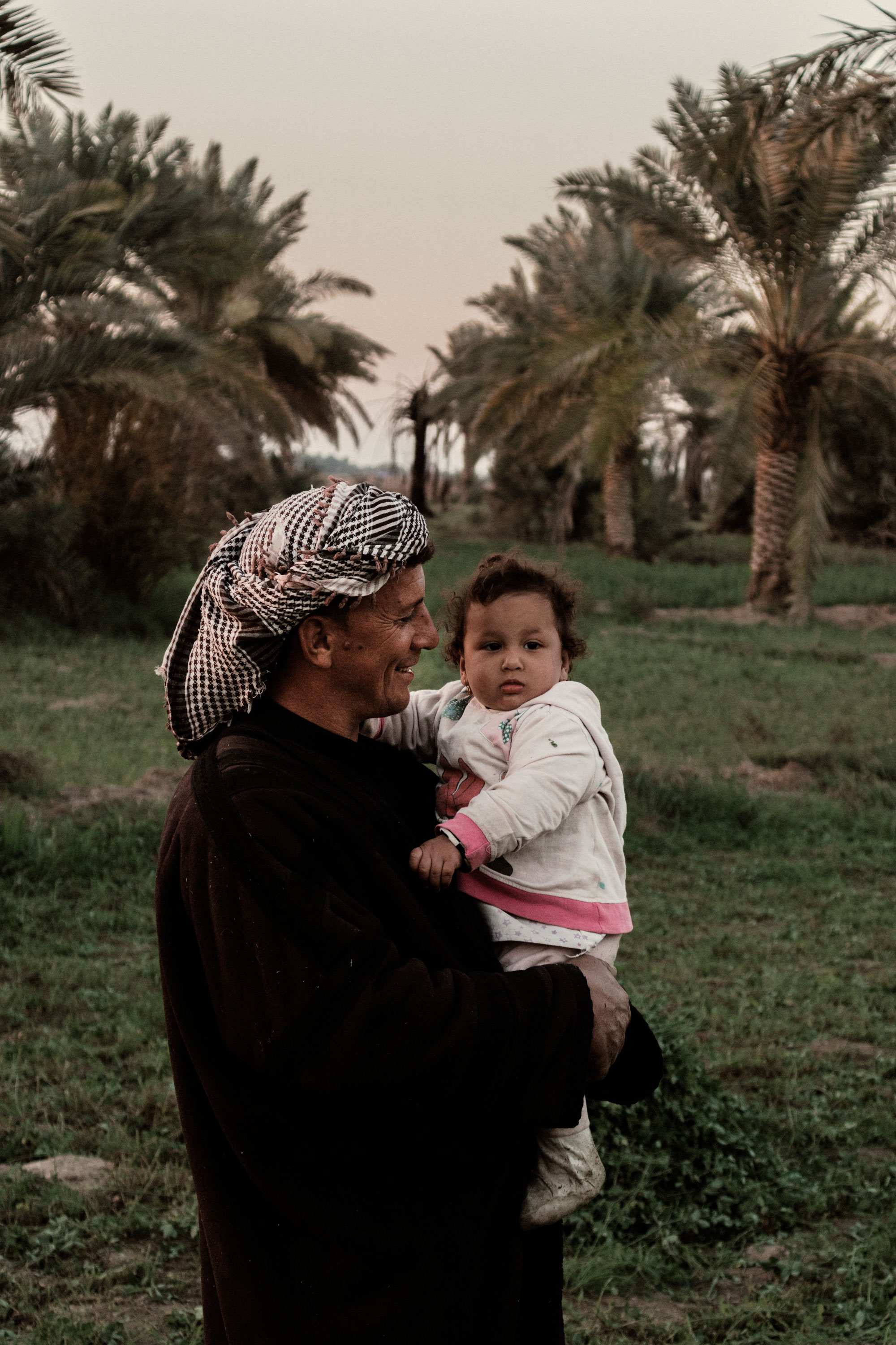 A father holds his child amidst a lush scene of palm trees in Iraq.
