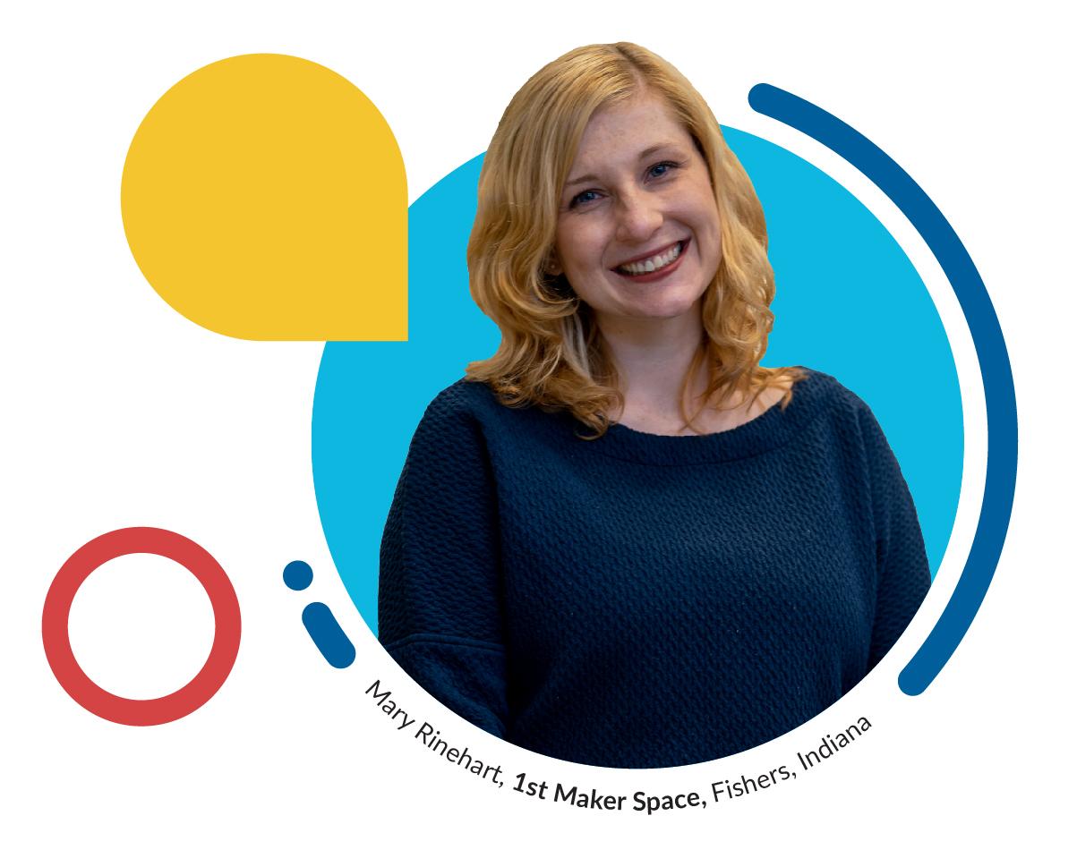 Headshot of Mary Rinehart President of 1st Maker Space in Fishers Indiana