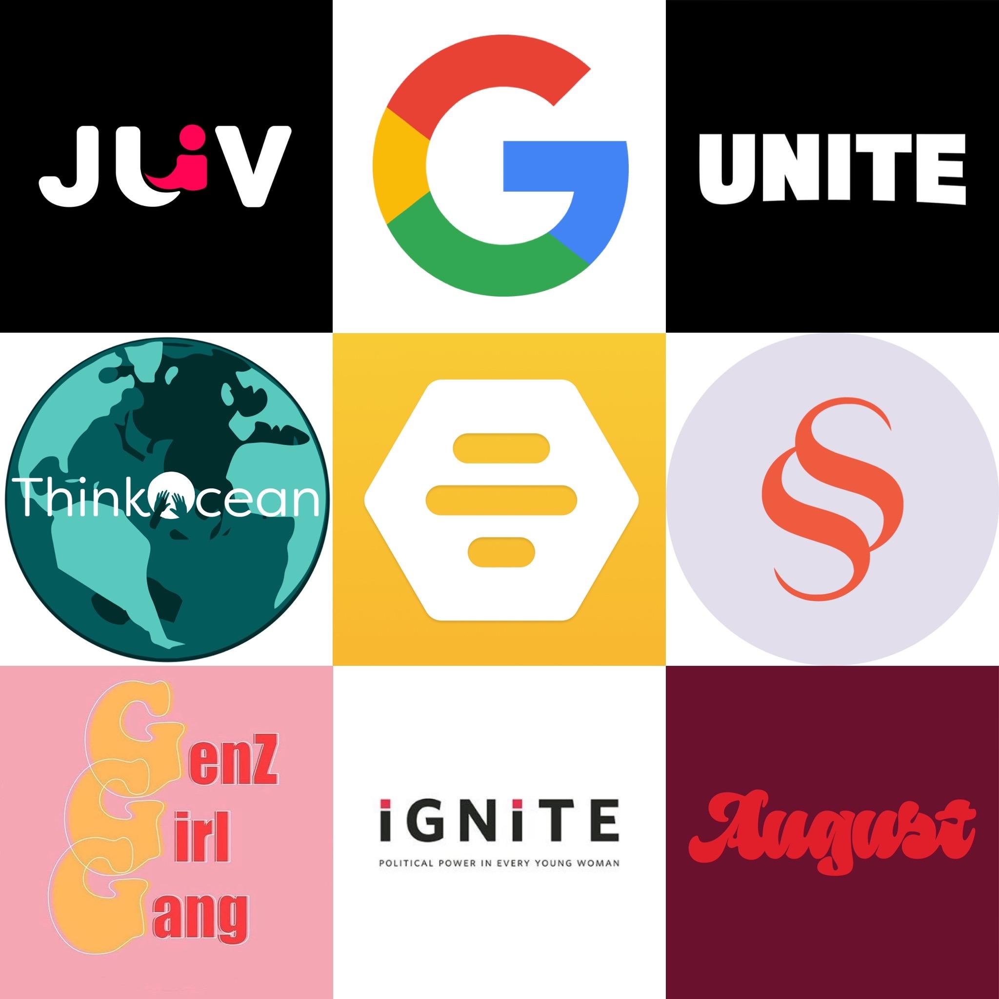 Logos for JUV Consulting, Google, Unite, ThinkOcean, Bumble, Shiffon, GenZ Girl Gang, Ignite, August.