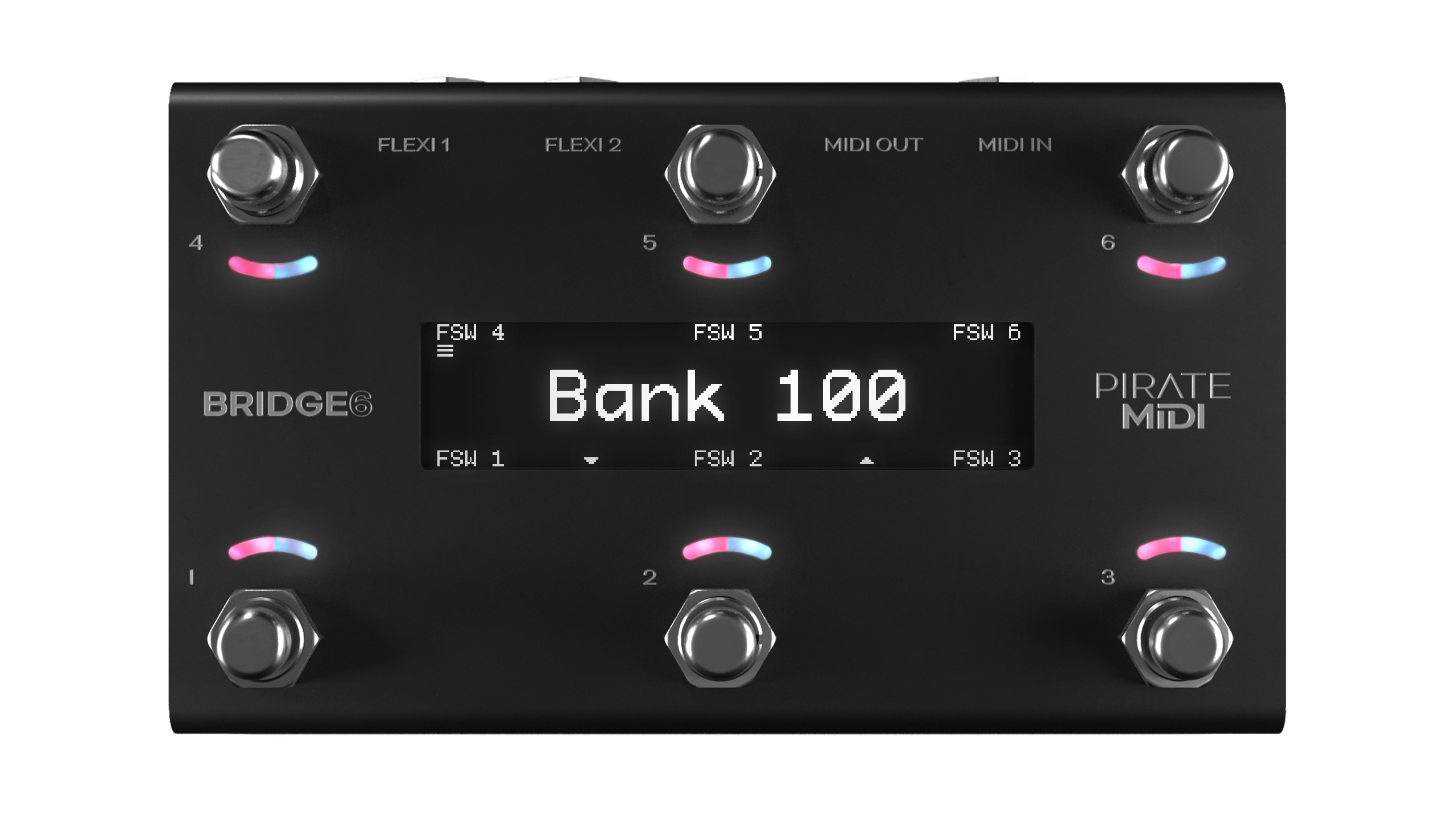 """Bridge6 Pedal with All LEDs on and Screen showing """"Bank 100"""""""