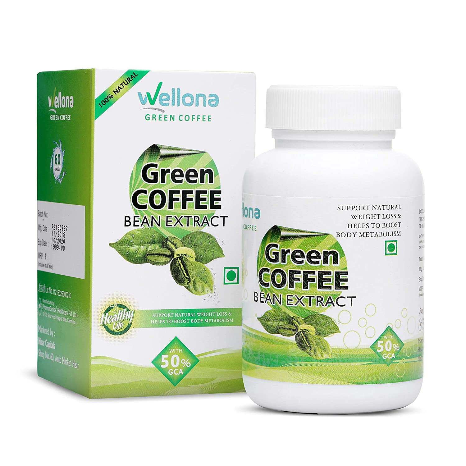 Wellona Green Coffee Bean Extract Weight Management Supplement for Men and  Women (800 Mg) - 60 Capsules: Amazon.in: Health & Personal Care
