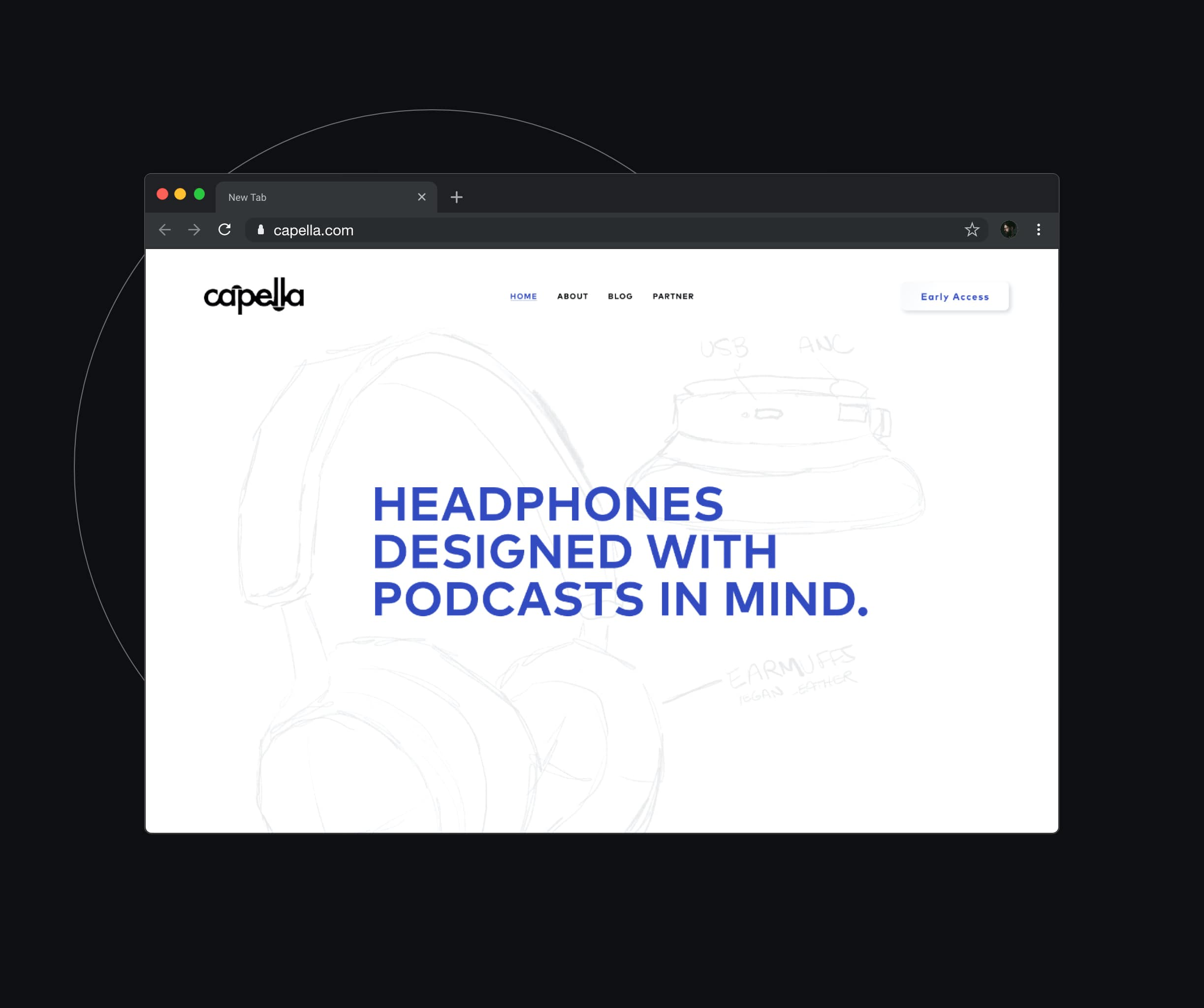Image of website for headphone company.