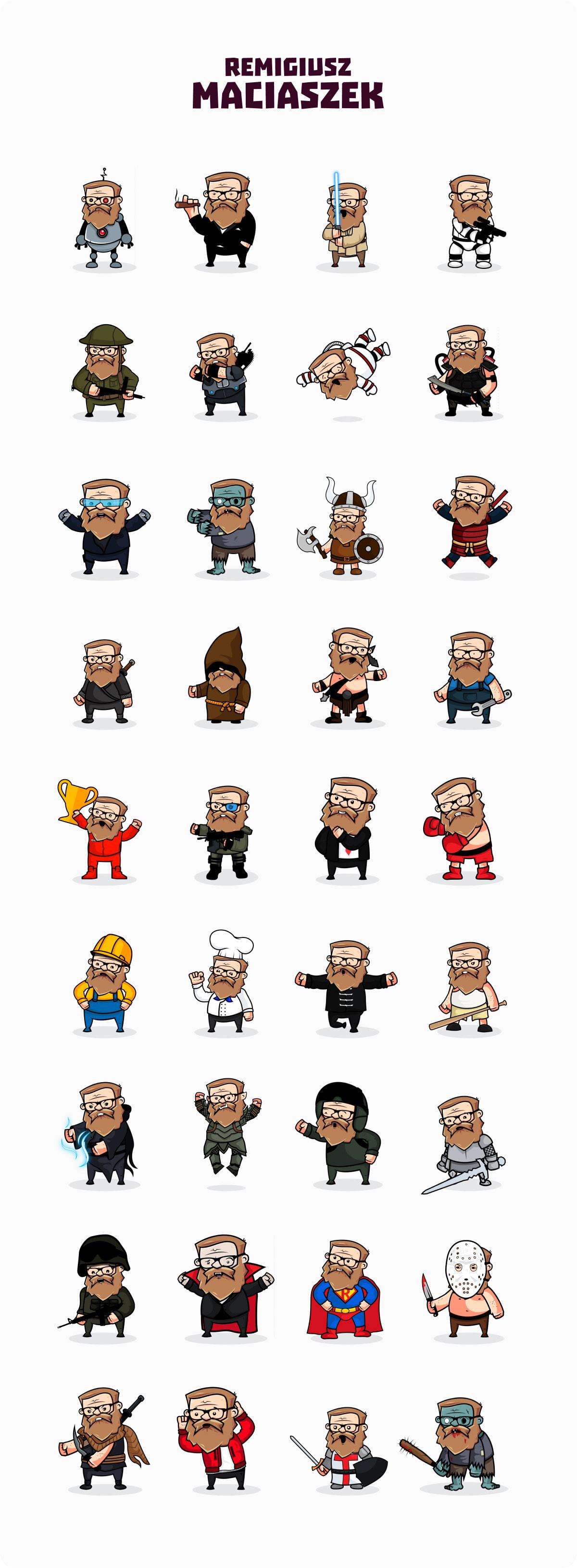 Remigiusz Maciaszek Rock JaRock Ilustracje w różnych osobowościach żołnierz kucharz kosmonauta cyberpunk mag superman