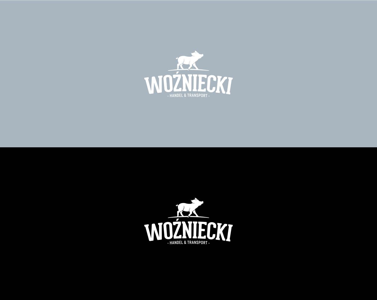 Projekt logotypu Woźniecki w wersji białej na różnych tłach kolorystycznych
